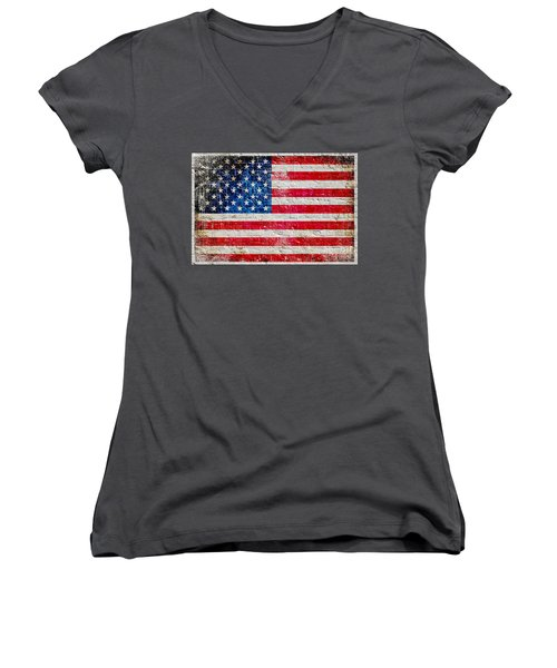 Distressed American Flag On Old Brick Wall - Horizontal Women's V-Neck T-Shirt (Junior Cut) by M L C
