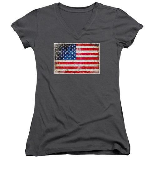 Distressed American Flag On Old Brick Wall - Horizontal Women's V-Neck T-Shirt