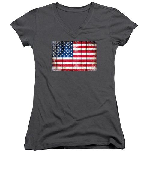 Distressed American Flag On Wood Planks - Horizontal Women's V-Neck T-Shirt (Junior Cut) by M L C