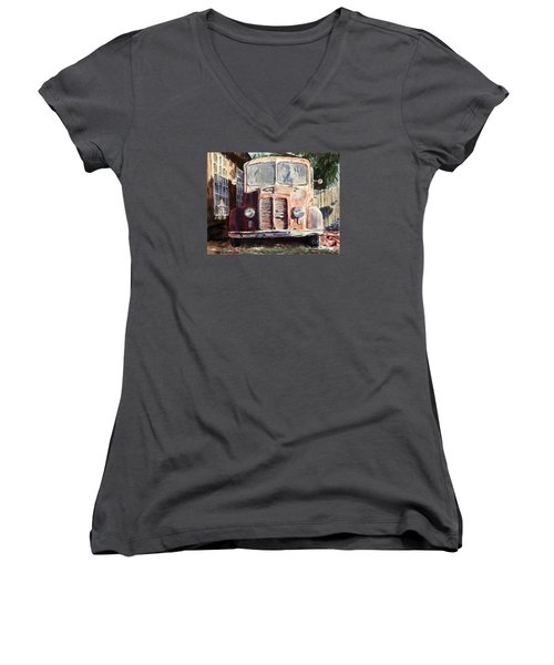Divco Truck Women's V-Neck T-Shirt (Junior Cut) by Joey Agbayani