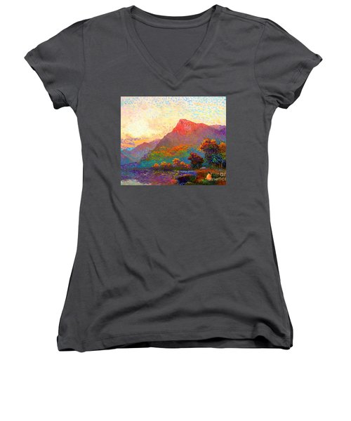 Women's V-Neck T-Shirt (Junior Cut) featuring the painting  Buddha Meditation, Divine Light by Jane Small