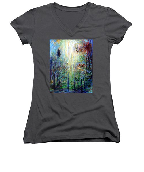 Women's V-Neck T-Shirt (Junior Cut) featuring the painting Divine Mother Earth by Heather Calderon