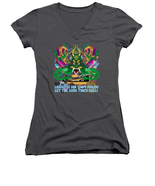 Dj Dragon6 King All Products Women's V-Neck T-Shirt (Junior Cut) by Bill Campitelle