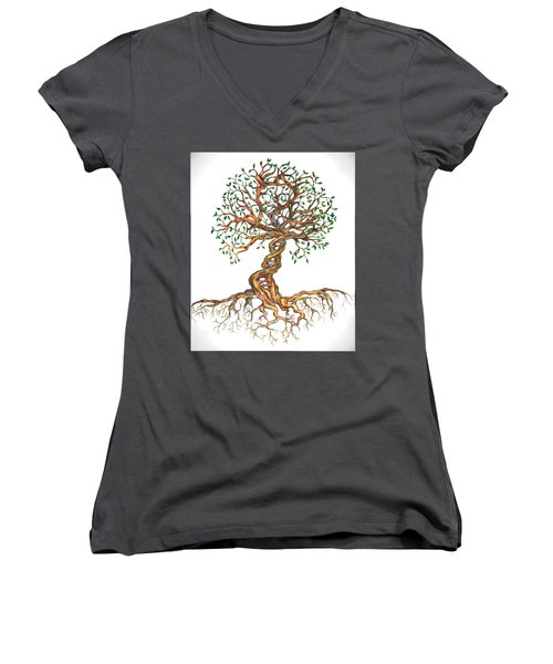 Dna Tree Of Life Women's V-Neck (Athletic Fit)