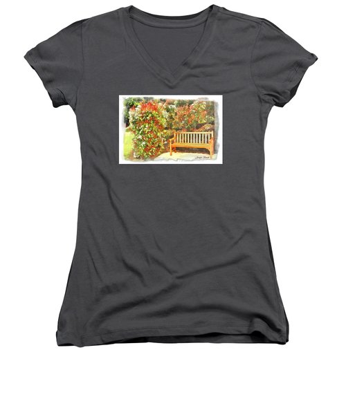 Women's V-Neck T-Shirt (Junior Cut) featuring the photograph Do-00122 Inviting Bench by Digital Oil