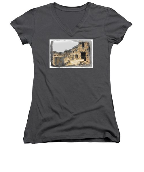 Women's V-Neck T-Shirt (Junior Cut) featuring the photograph Do-00452 Inside The Ruins by Digital Oil