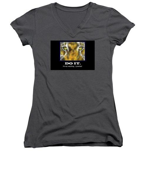 Do It Motivational Women's V-Neck T-Shirt (Junior Cut) by Darren Cannell