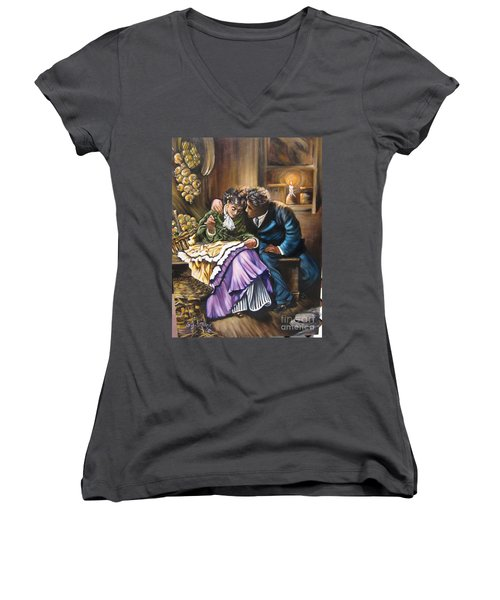 Women's V-Neck T-Shirt (Junior Cut) featuring the painting Do You Love Me? by Sigrid Tune