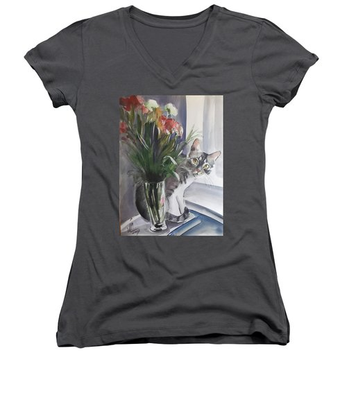 Do You See Me? Pet Portrait In Watercolor .modern Cat Art With Flowers  Women's V-Neck (Athletic Fit)