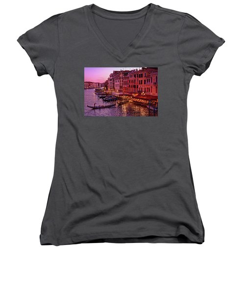 A Cityscape With Vintage Buildings And Gondola - From The Rialto In Venice, Italy Women's V-Neck
