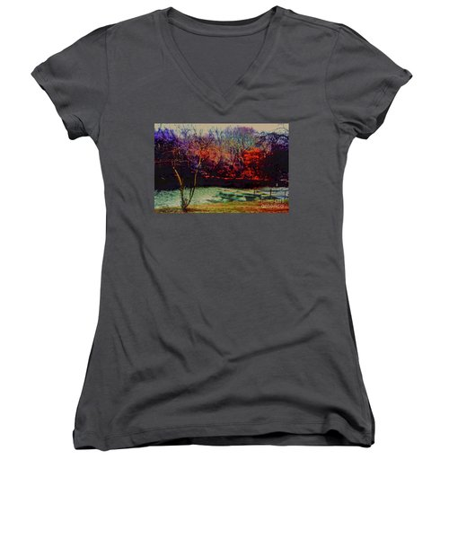 Women's V-Neck T-Shirt (Junior Cut) featuring the photograph Dock At Central Park by Sandy Moulder