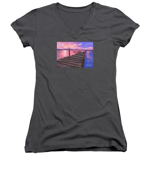 Dock At Sunset Women's V-Neck T-Shirt (Junior Cut) by Diana Riukas