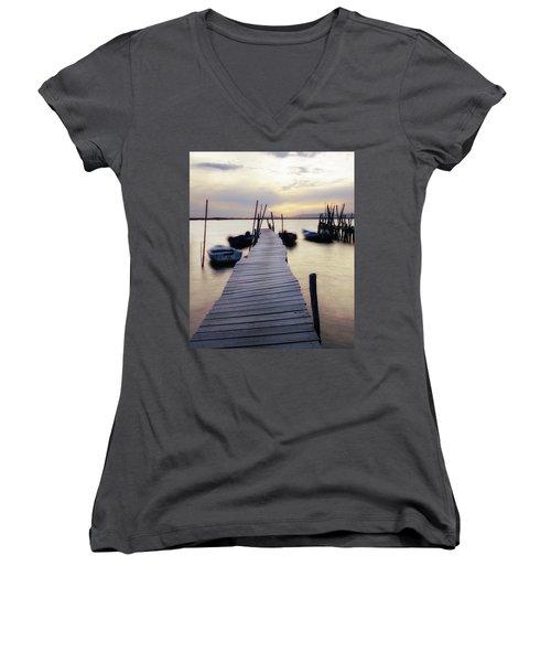 Dock At Sunset Women's V-Neck T-Shirt
