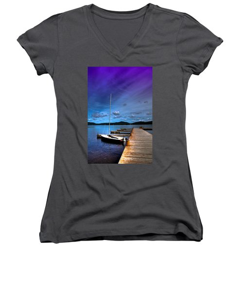 Docked On Fourth Lake Women's V-Neck T-Shirt (Junior Cut) by David Patterson