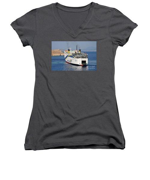Docking Ferry On Halki Women's V-Neck T-Shirt