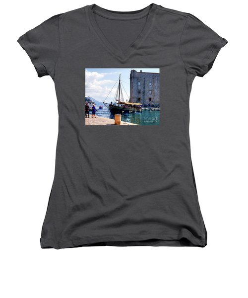 Docking In Dubrovnik Harbour Women's V-Neck