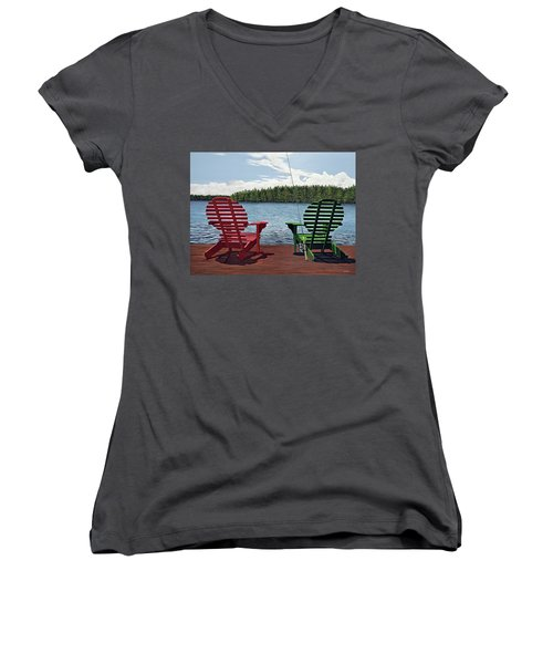 Dockside Women's V-Neck T-Shirt (Junior Cut) by Kenneth M  Kirsch