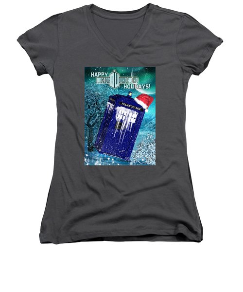 Doctor Who Tardis Holiday Card Women's V-Neck