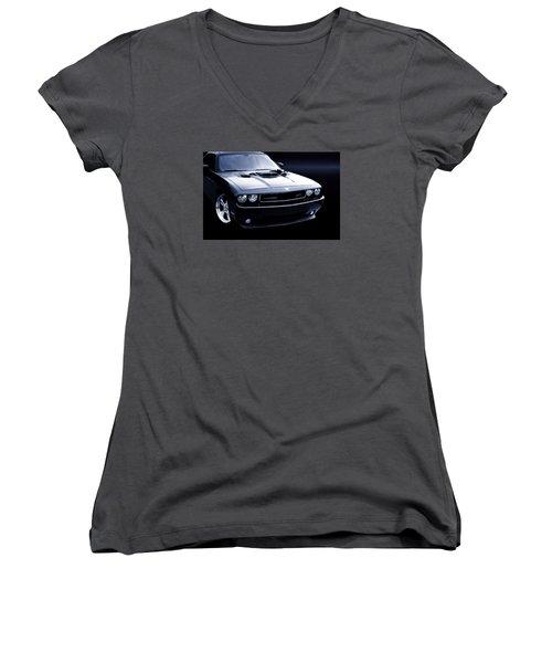 Dodge Challenger Blackbird Sr-71 Women's V-Neck T-Shirt (Junior Cut) by Thomas Burtney