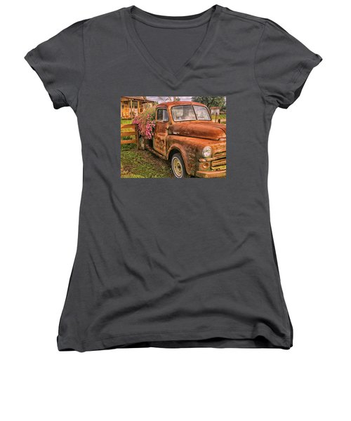 Dodge Flower Pot Women's V-Neck T-Shirt