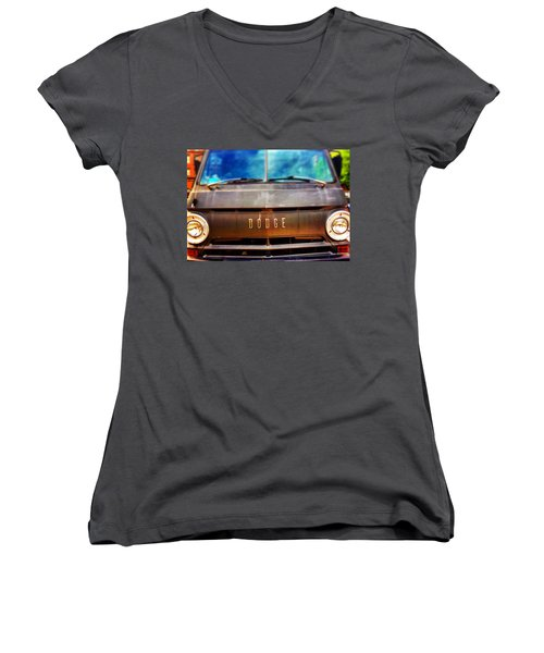 Dodge In Town Women's V-Neck T-Shirt (Junior Cut) by Olivier Calas