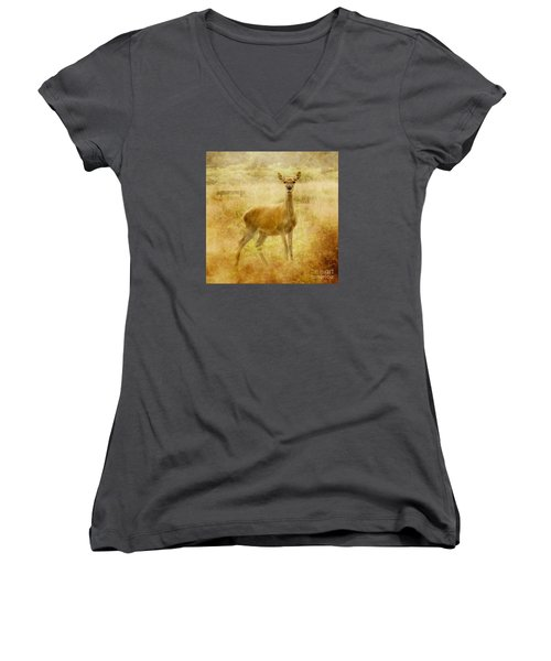 Women's V-Neck T-Shirt (Junior Cut) featuring the photograph Doe A Deer A Female Deer by Linsey Williams
