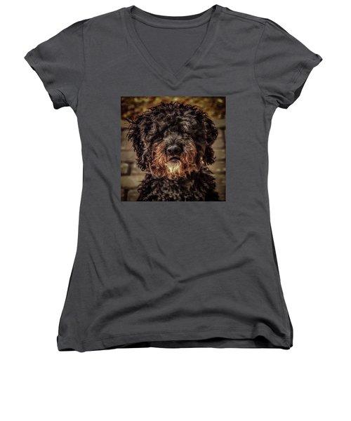 Dog  Women's V-Neck (Athletic Fit)