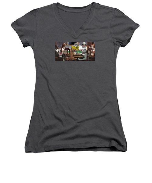 Dogs Playing Poker And Reading Steve Hodel Women's V-Neck T-Shirt (Junior Cut) by Robert J Sadler