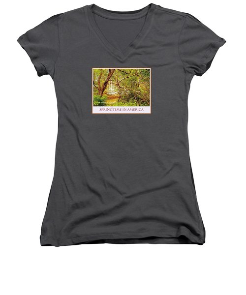 Women's V-Neck T-Shirt (Junior Cut) featuring the photograph Dogwood Tree In The Forest Spring by A Gurmankin