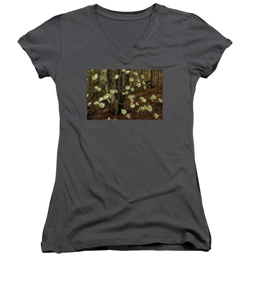 Women's V-Neck T-Shirt (Junior Cut) featuring the photograph Dogwoods In The Spring by Mike Eingle