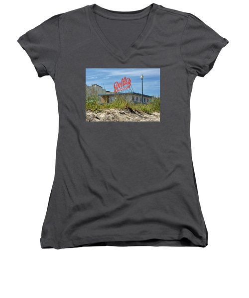 Women's V-Neck T-Shirt (Junior Cut) featuring the photograph Dolles Candyland - Rehoboth Beach Delaware by Brendan Reals