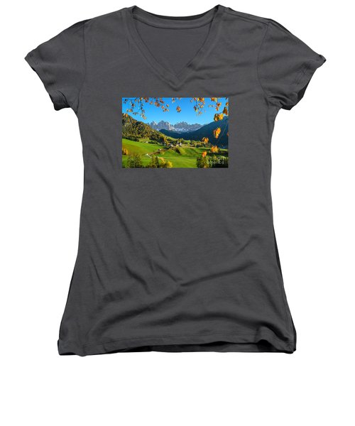Dolomites Mountain Village In Autumn In Italy Women's V-Neck T-Shirt (Junior Cut) by IPics Photography