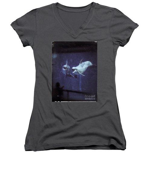 Dolphinspiration Women's V-Neck T-Shirt (Junior Cut) by Jason Nicholas