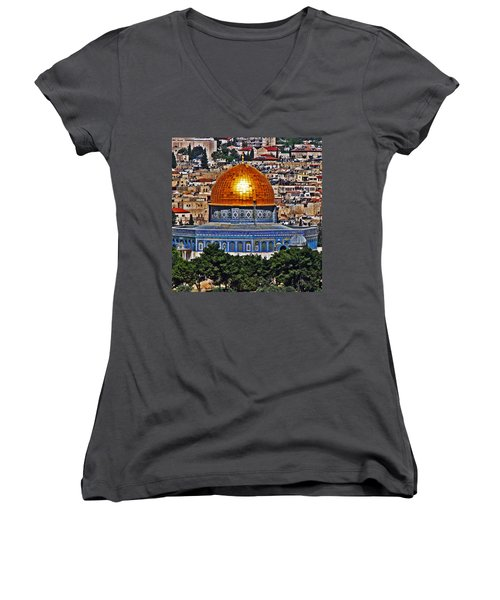 Dome Of The Rock Women's V-Neck (Athletic Fit)