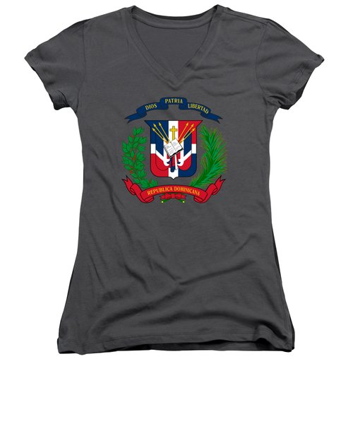 Women's V-Neck T-Shirt (Junior Cut) featuring the drawing Dominican Republic Coat Of Arms by Movie Poster Prints