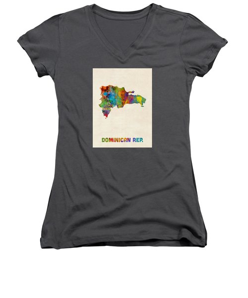 Dominican Republic Watercolor Map Women's V-Neck