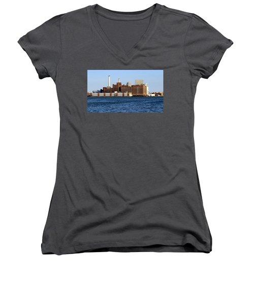 Domino Sugar Women's V-Neck T-Shirt (Junior Cut) by Joseph Skompski