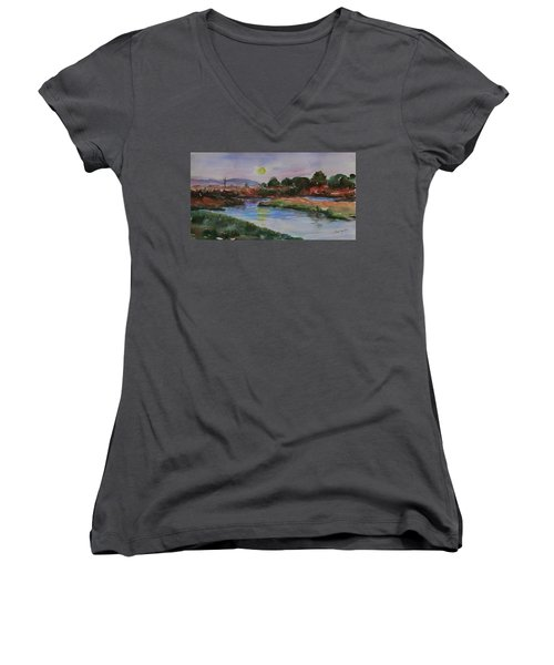 Women's V-Neck T-Shirt featuring the painting Don Edwards San Francisco Bay National Wildlife Refuge Landscape 1 by Xueling Zou