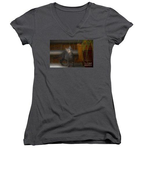 Women's V-Neck T-Shirt (Junior Cut) featuring the photograph Don Juan Pancho by John Kolenberg
