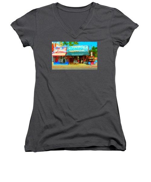 Donkey Leather Shop Women's V-Neck T-Shirt (Junior Cut)