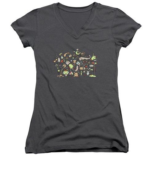 Doodle Bots Women's V-Neck T-Shirt