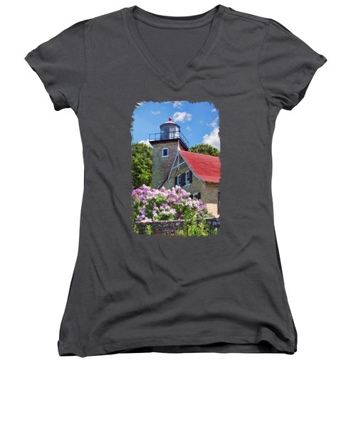 Women's V-Neck T-Shirt (Junior Cut) featuring the painting Door County Eagle Bluff Lighthouse Lilacs by Christopher Arndt