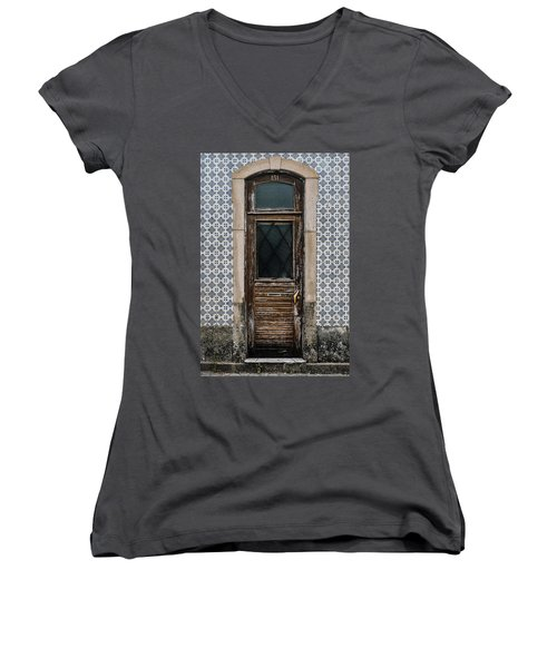 Women's V-Neck T-Shirt (Junior Cut) featuring the photograph Door No 151 by Marco Oliveira