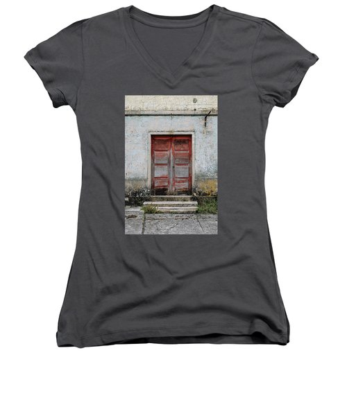 Women's V-Neck T-Shirt (Junior Cut) featuring the photograph Door No 175 by Marco Oliveira