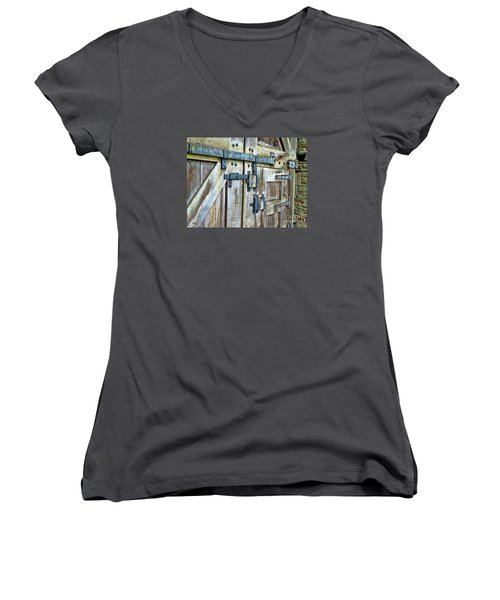 Doors At Caerphilly Castle Women's V-Neck T-Shirt (Junior Cut) by Judi Bagwell