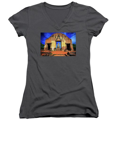 Doorway To Wat Ratburana In Ayutthaya, Thailand Women's V-Neck