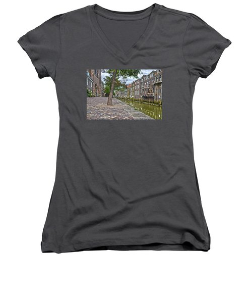 Dordrecht Behind The Church Women's V-Neck T-Shirt (Junior Cut) by Frans Blok
