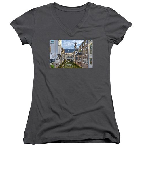 Dordrecht Town Hall Women's V-Neck T-Shirt (Junior Cut) by Frans Blok