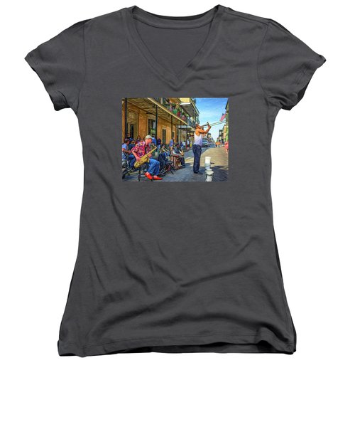 Doreen's Jazz New Orleans - Paint Women's V-Neck (Athletic Fit)