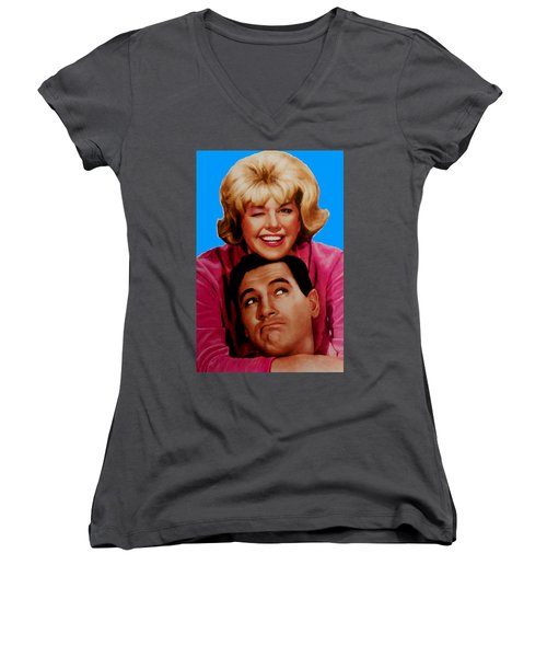 Women's V-Neck T-Shirt (Junior Cut) featuring the mixed media Doris Day Rock Hudson  by Paul Van Scott